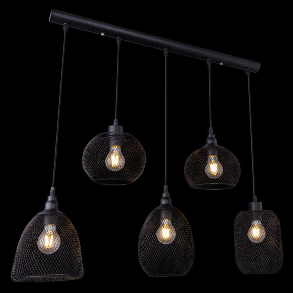 LED hanglamp mesh 5 x E27 fitting metaal - zijaanzicht donkere achtergrond
