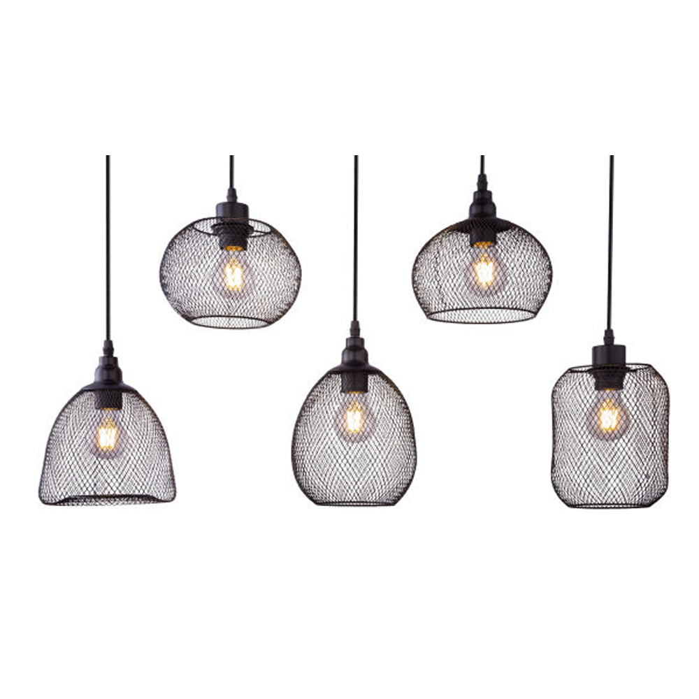 LED hanglamp mesh 5 x E27 fitting metaal - lampenkappen