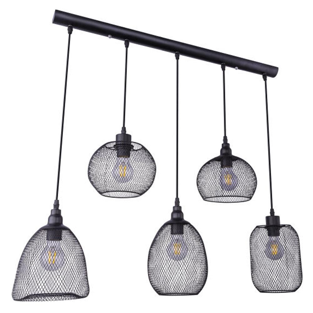 LED hanglamp mesh 5 x E27 fitting metaal - zijaanzicht lampen uit
