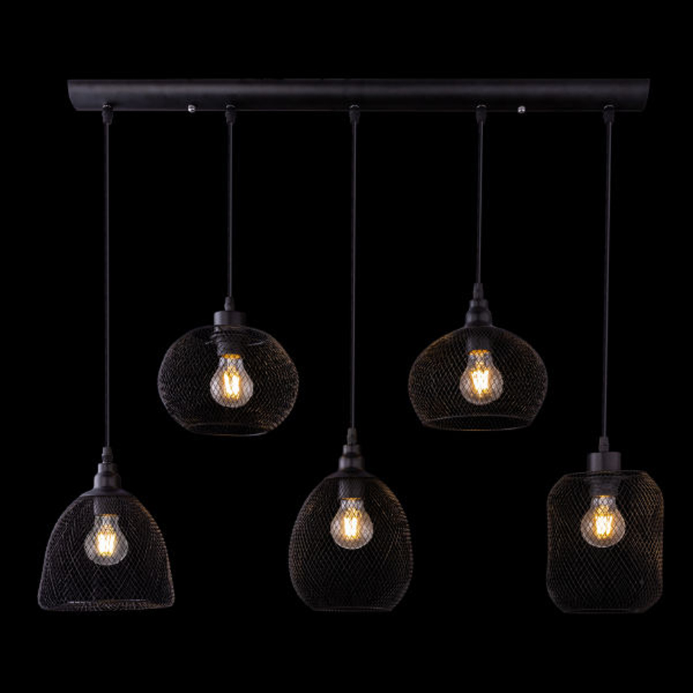 LED hanglamp mesh 5 x E27 fitting metaal - vooraanzicht donkere achtergrond