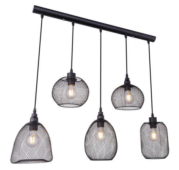LED hanglamp mesh 5 x E27 fitting metaal - zijaanzicht lampen aan