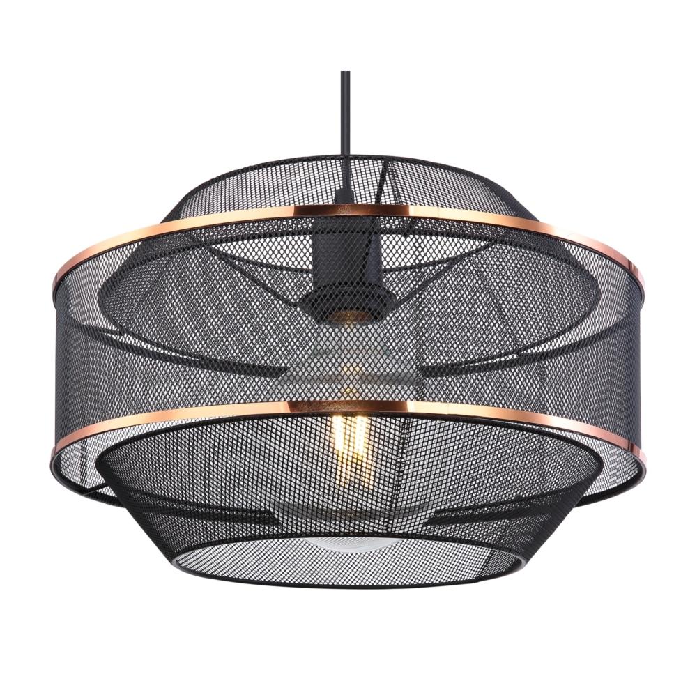 LED hanglamp modern E27 fitting zwart goud gaas - lampenkap