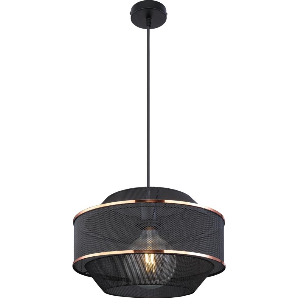 LED hanglamp modern E27 fitting zwart goud gaas - vooraanzicht lamp aan
