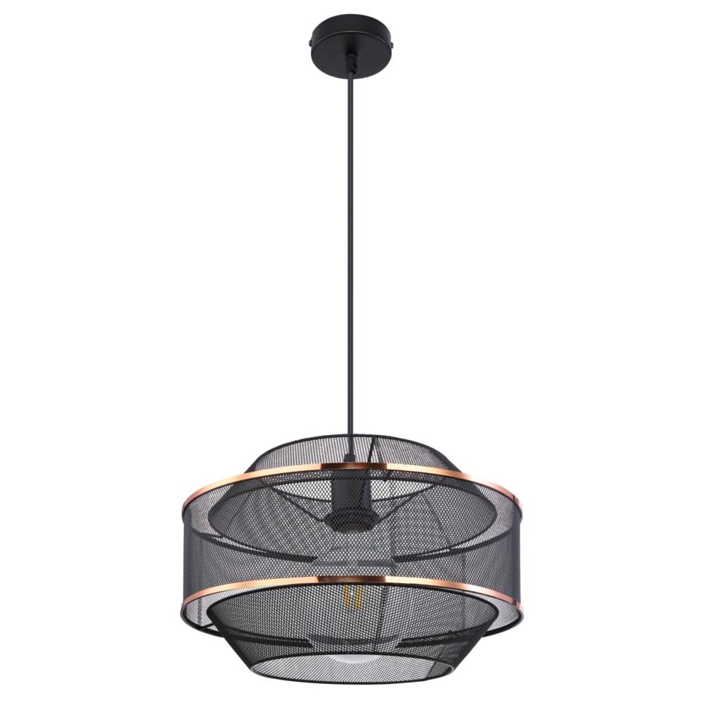 LED hanglamp modern E27 fitting zwart goud gaas - vooraanzicht lamp uit
