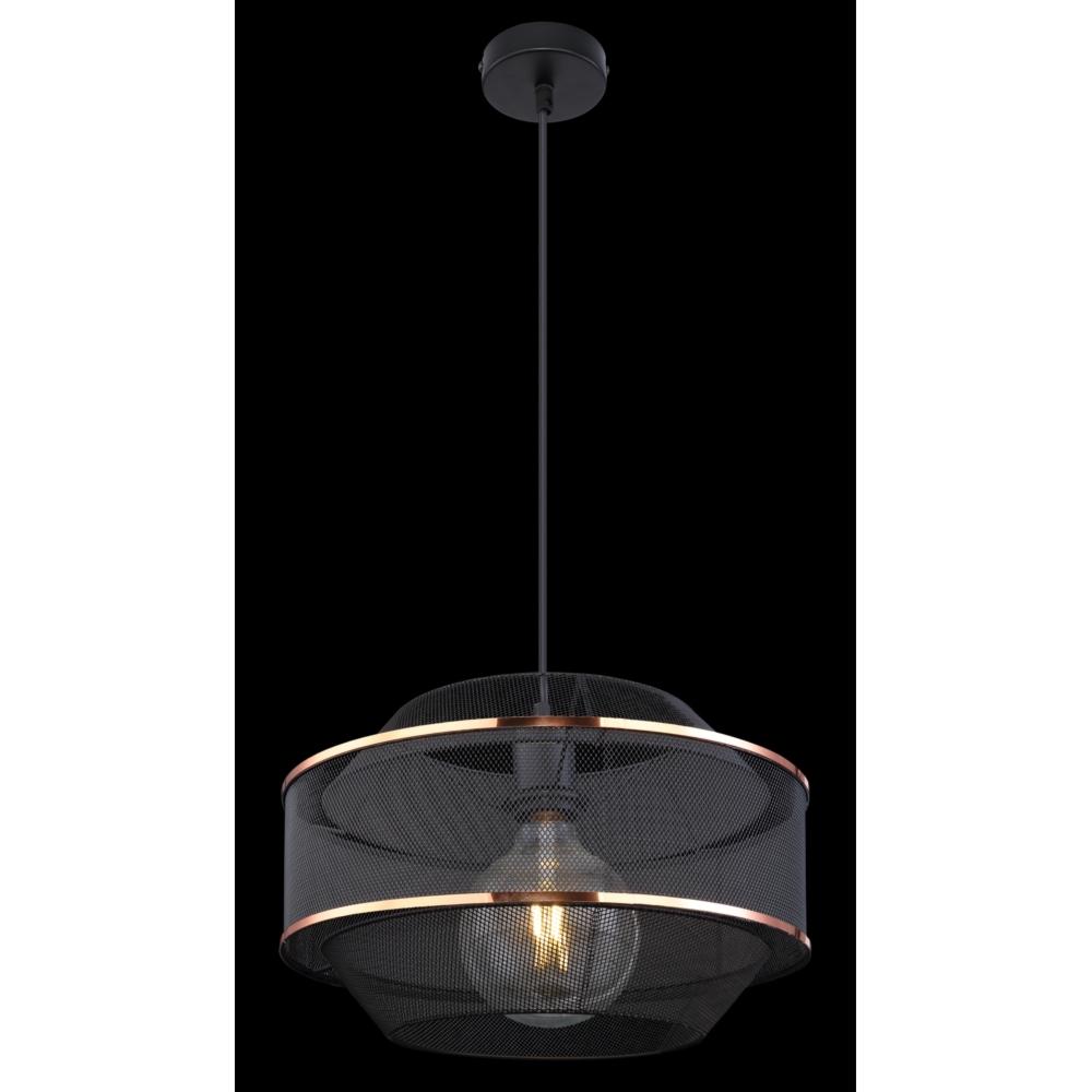 LED hanglamp modern E27 fitting zwart goud gaas - donkere achtergrond