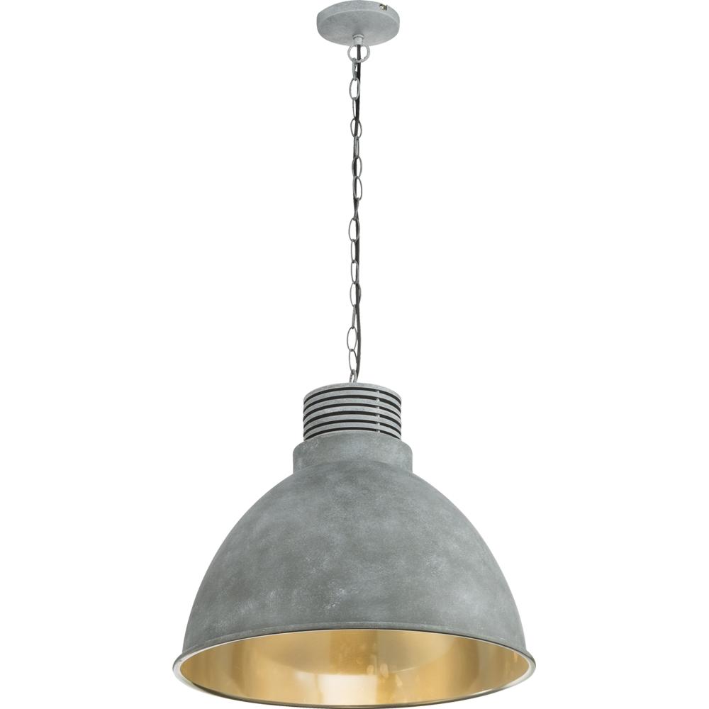 led hanglamp grijs - cementlook E27 fitting - vooraanzicht lamp