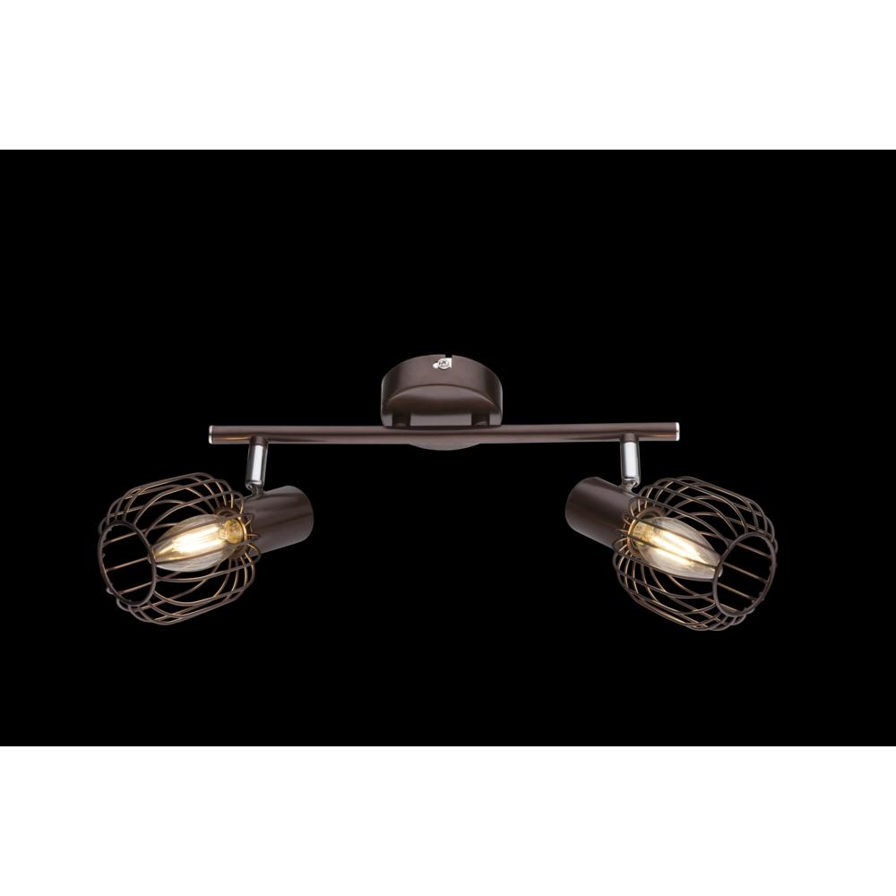 Led plafondlamp metaal chroom 2 x E14 kleine fitting - donkere achtergrond