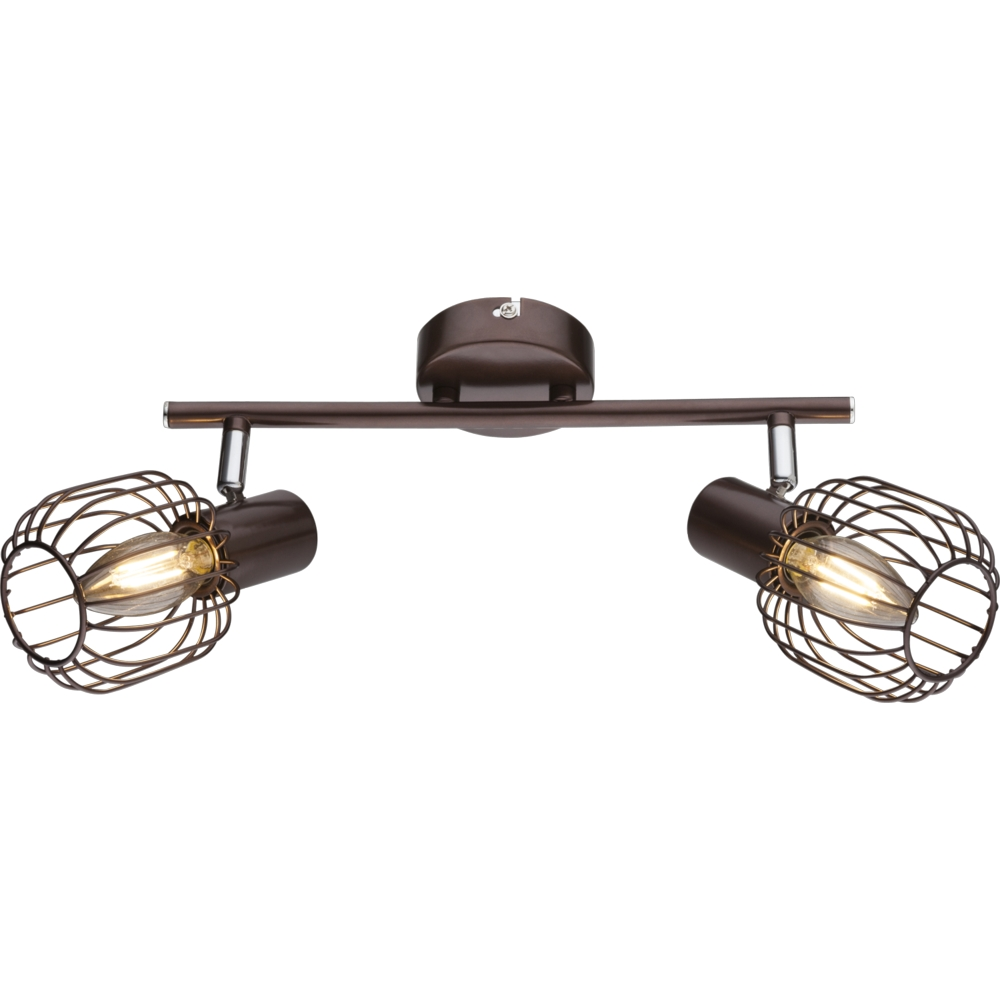 Led plafondlamp metaal chroom 2 x E14 kleine fitting - vooraanzicht lamp