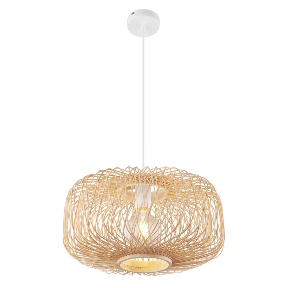 LED moderne plafondlamp E27 fitting bamboe wit - vooraanzicht lamp aan