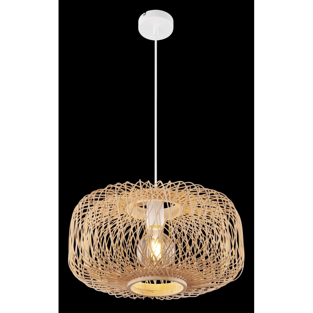 LED moderne plafondlamp E27 fitting bamboe wit - zwarte achtergrond