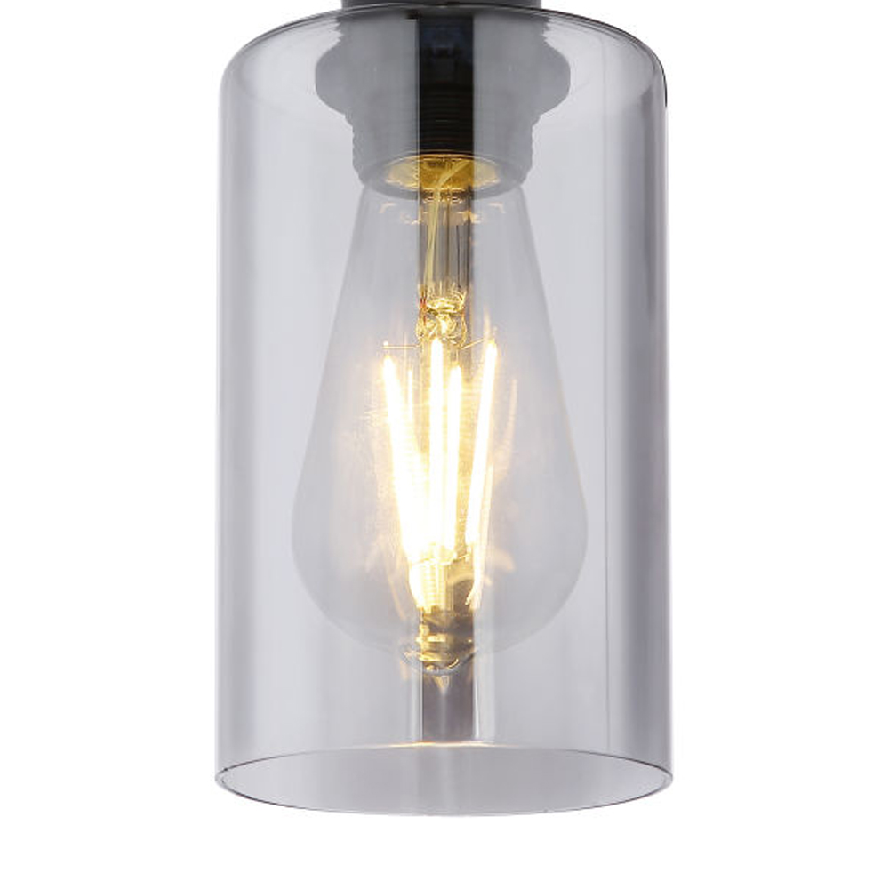Plafondlamp smoked glass E27 fitting metaal - lampenkap