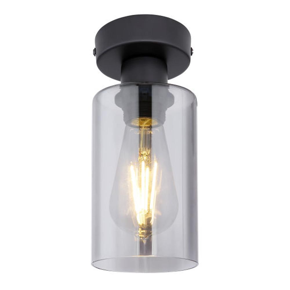 Plafondlamp smoked glass E27 fitting metaal - vooraanzicht lamp aan
