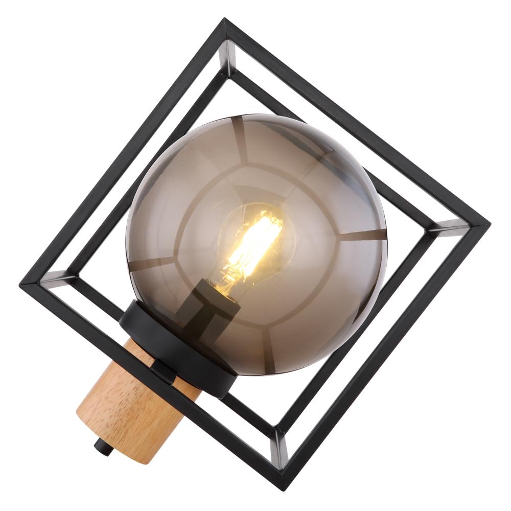 Tafellamp kubus E27 fitting smoked glas hout - vooraanzicht lamp aan