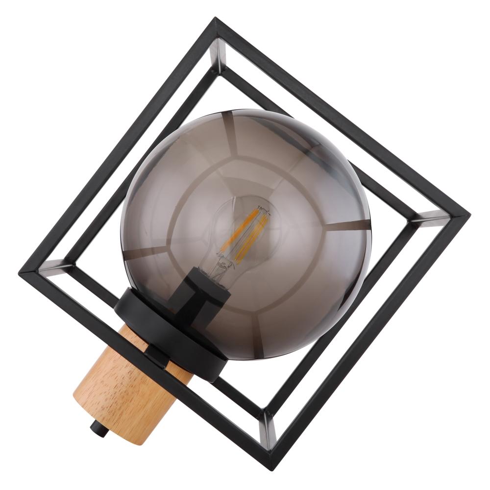 Tafellamp kubus E27 fitting smoked glas hout - vooraanzicht lamp uit