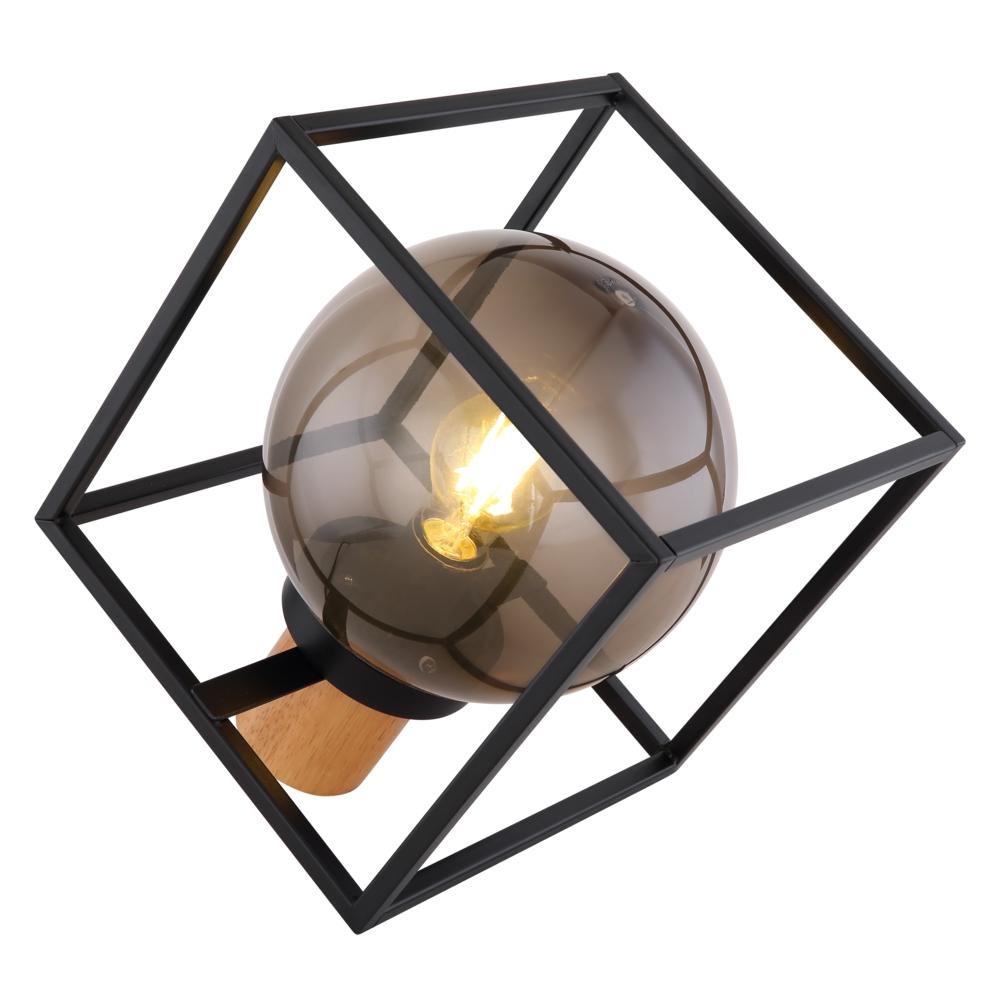 Tafellamp kubus E27 fitting smoked glas hout - zijaanzicht lamp aan