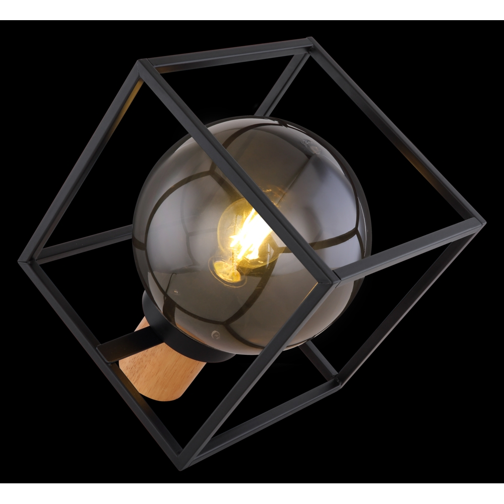 Tafellamp kubus E27 fitting smoked glas hout - zijaanzicht donkere achtergrond