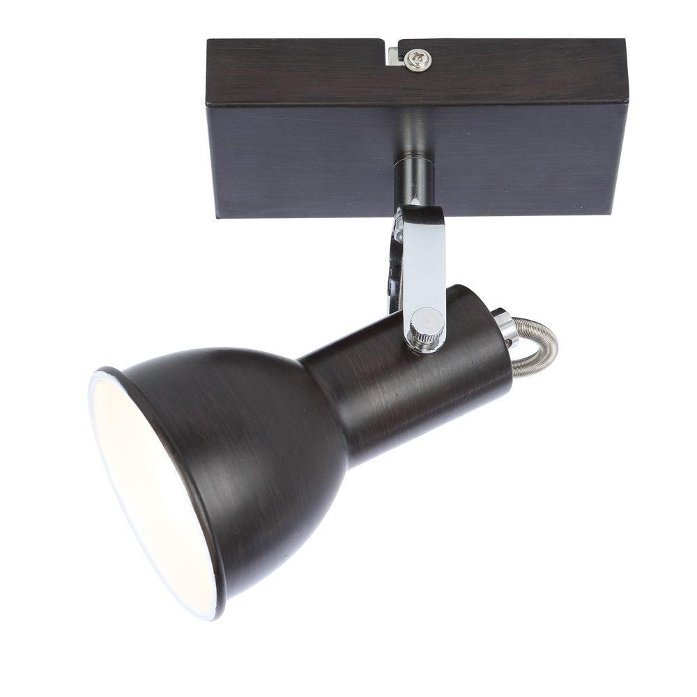 Wandlamp metaal modern bruin E14 fitting - zijkant wandlamp