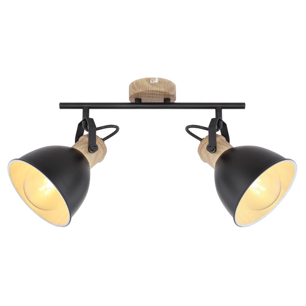 LED moderne plafondlamp 2 x E27 fitting - vooraanzicht lampen aan