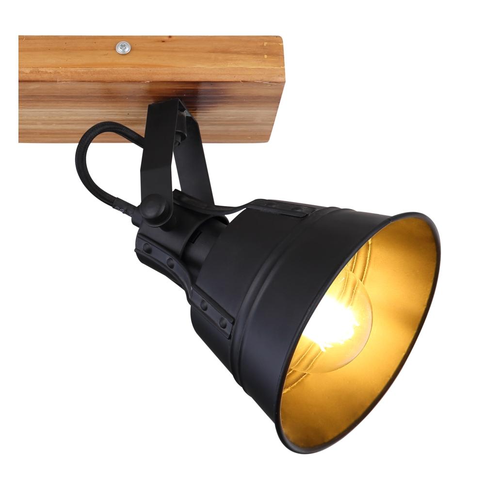 Plafondlamp hout zwart E27 fitting - lampenkap
