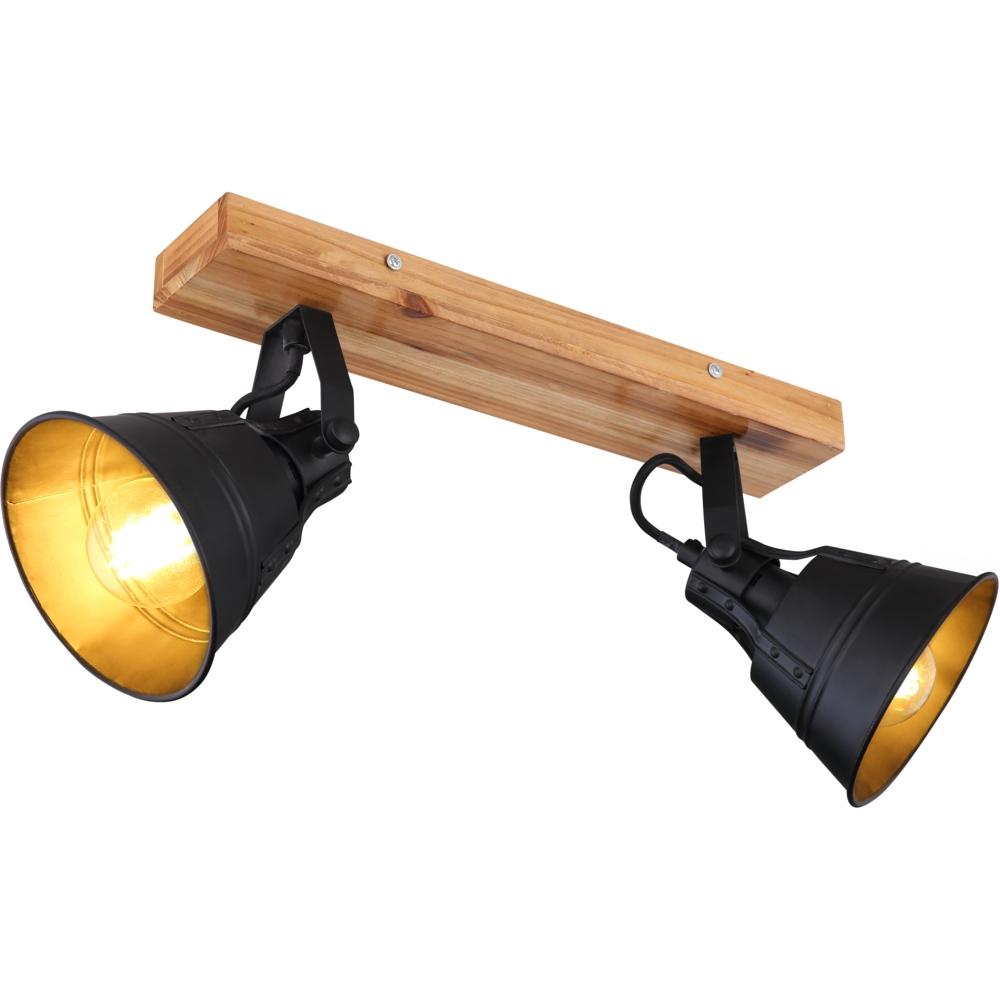 Plafondlamp hout zwart E27 fitting - zijaanzicht lampen aan