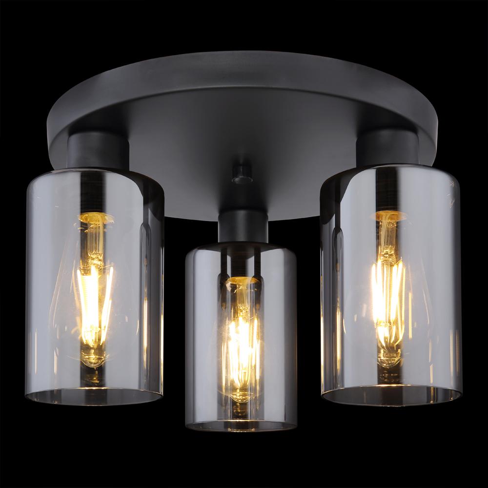 LED moderne plafondlamp smoked glass E27 fitting - zwarte achtergrond