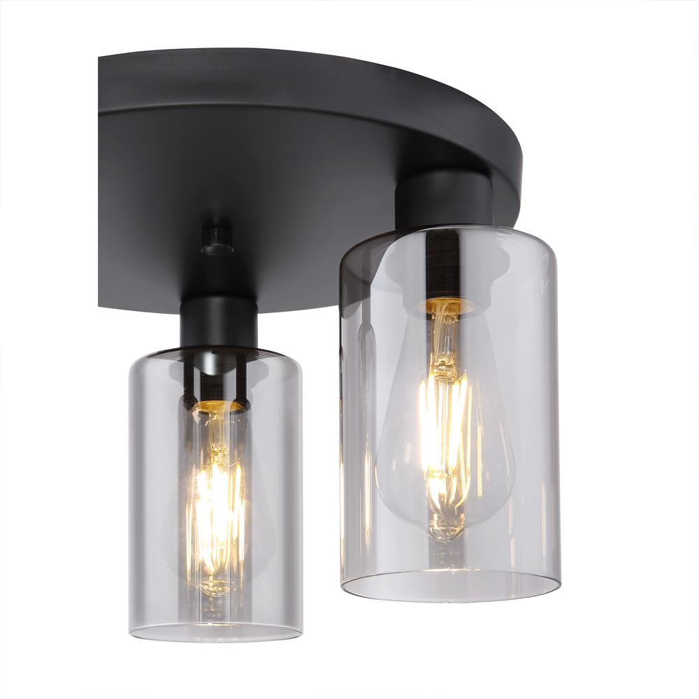 LED moderne plafondlamp smoked glass E27 fitting - lampenkap