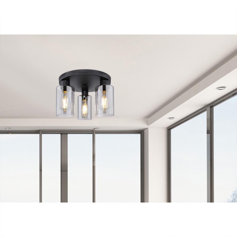 LED moderne plafondlamp smoked glass E27 fitting - sfeerfoto