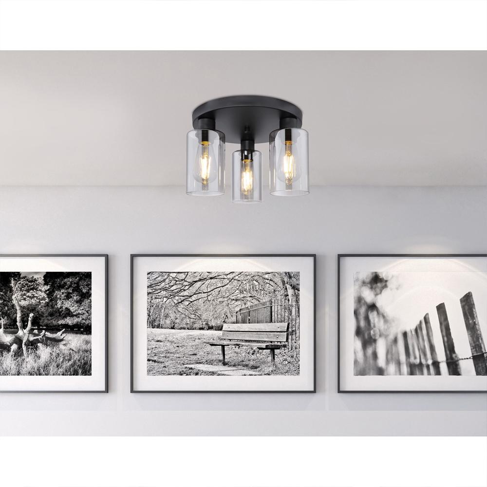 LED moderne plafondlamp smoked glass E27 fitting - sfeerfoto woonkamer