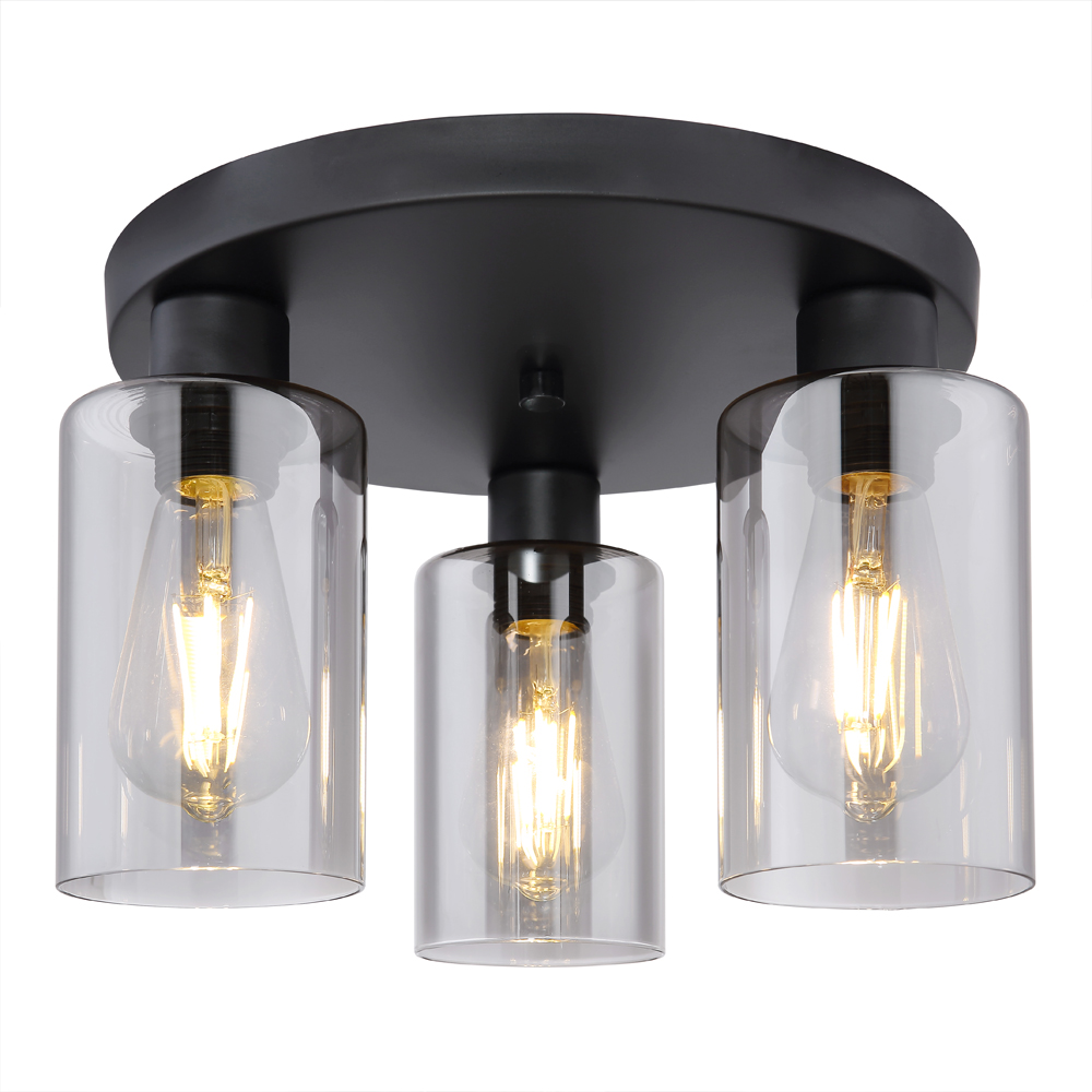 LED moderne plafondlamp smoked glass E27 fitting - vooraanzicht lamp aan