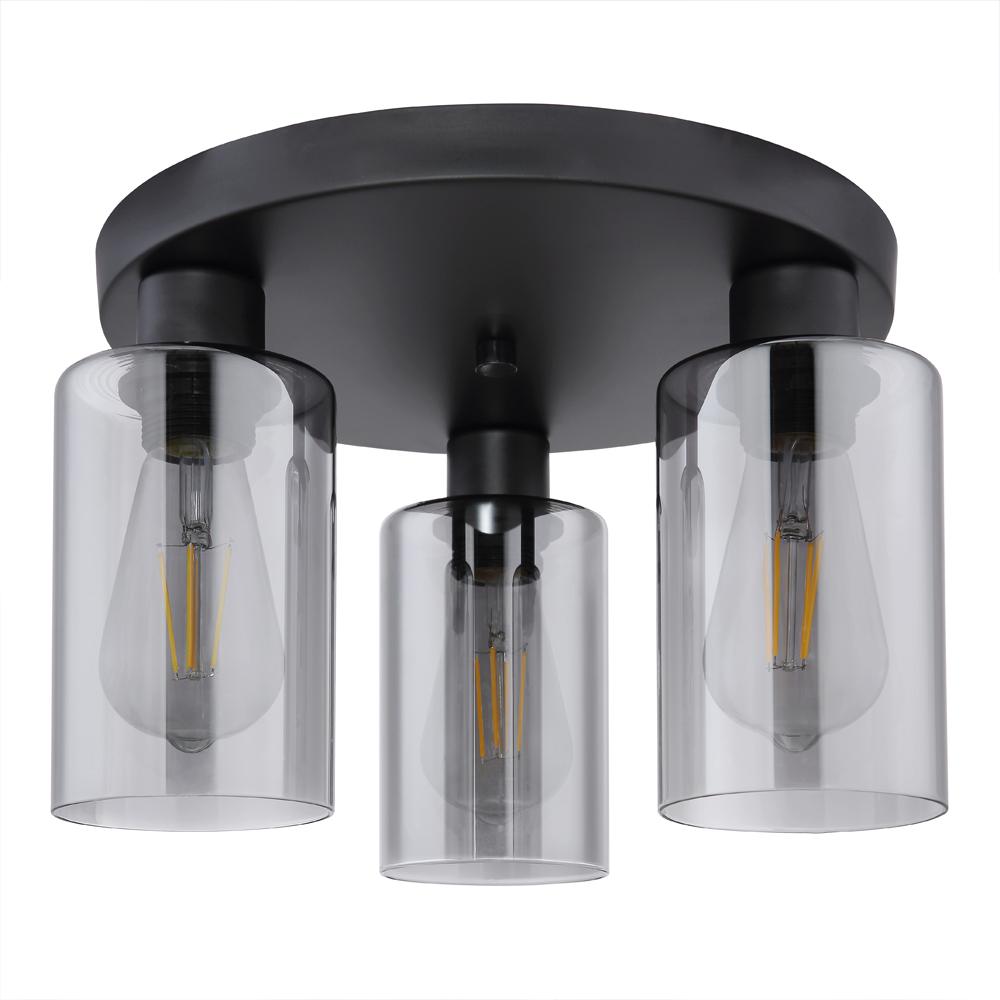 LED moderne plafondlamp smoked glass E27 fitting - vooraanzicht lamp uit