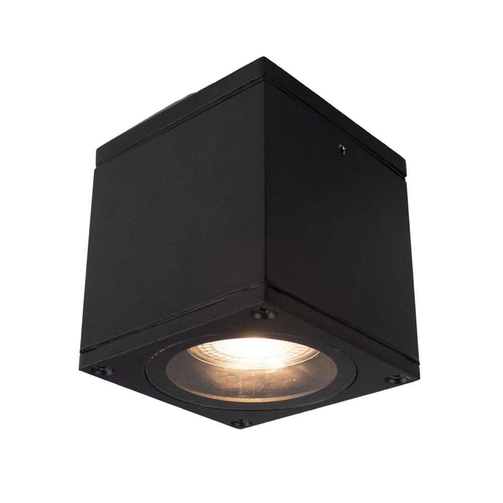 LED plafondlamp spatwaterdicht GU10 fitting zwart - plafondspot aan
