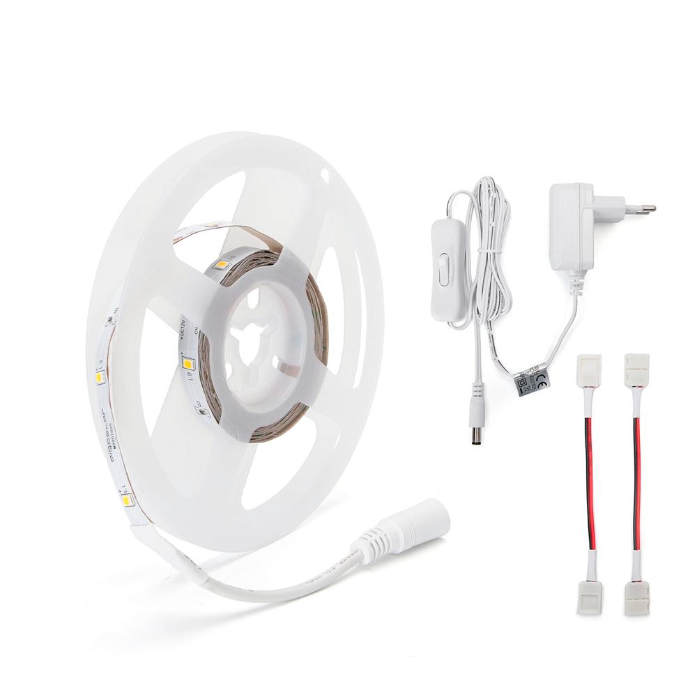 LED strip inclusief adapter met schakelaar 3 meter 3000k Warm wit - bundel