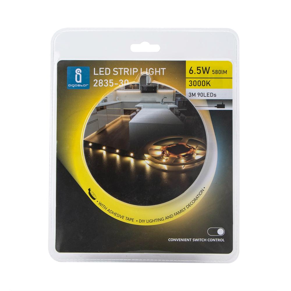 LED strip inclusief adapter met schakelaar 3 meter 3000k Warm wit - voorkant verpakking