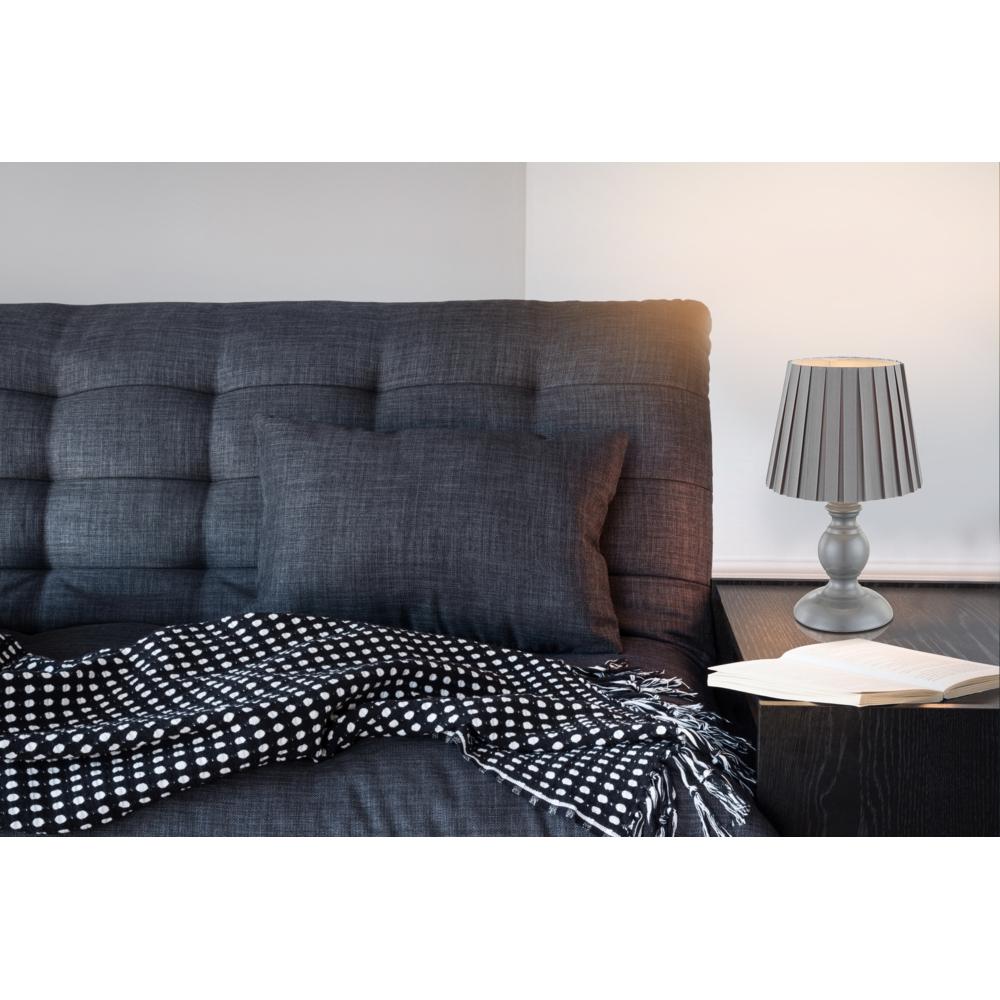 LED tafellamp E14 fitting grijs textiel - sfeerfoto