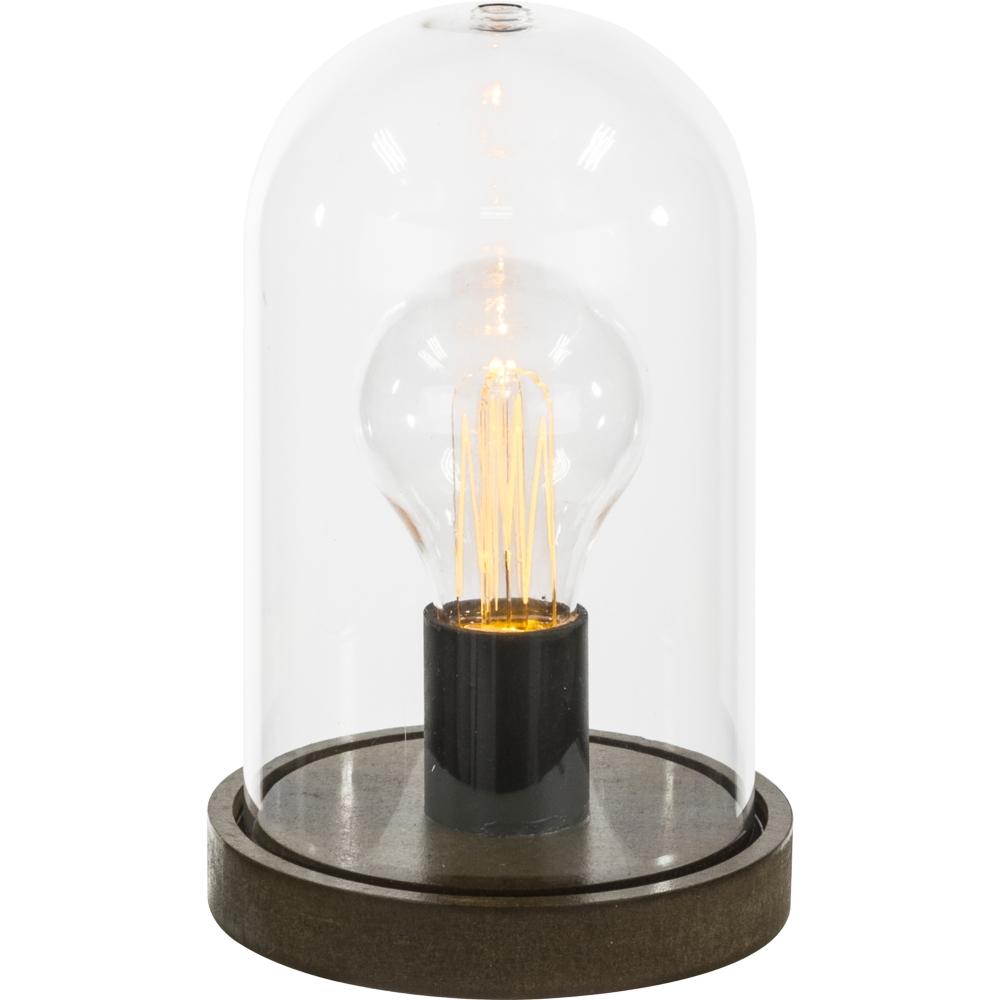 LED tafellamp op batterij - stulpje - glas - vooraanzicht lamp aan