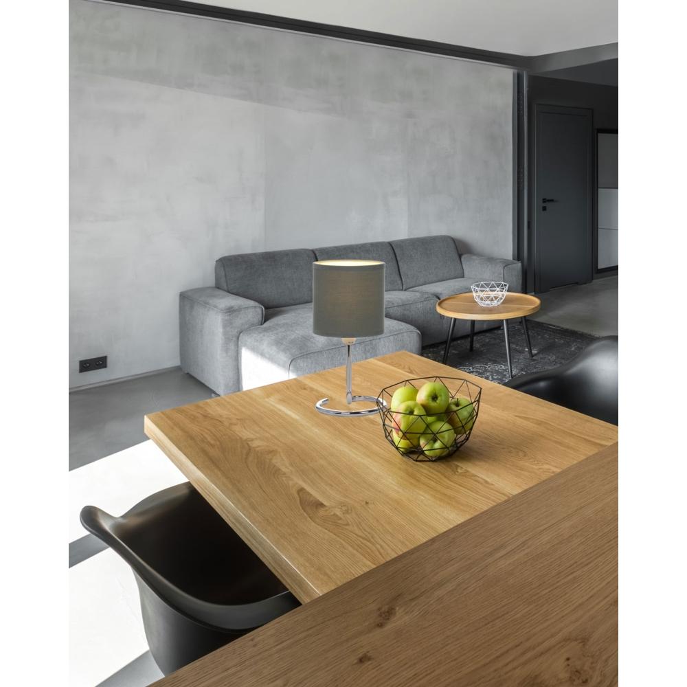 LED tafellamp grijs chroom - E14 fitting - sfeerfoto
