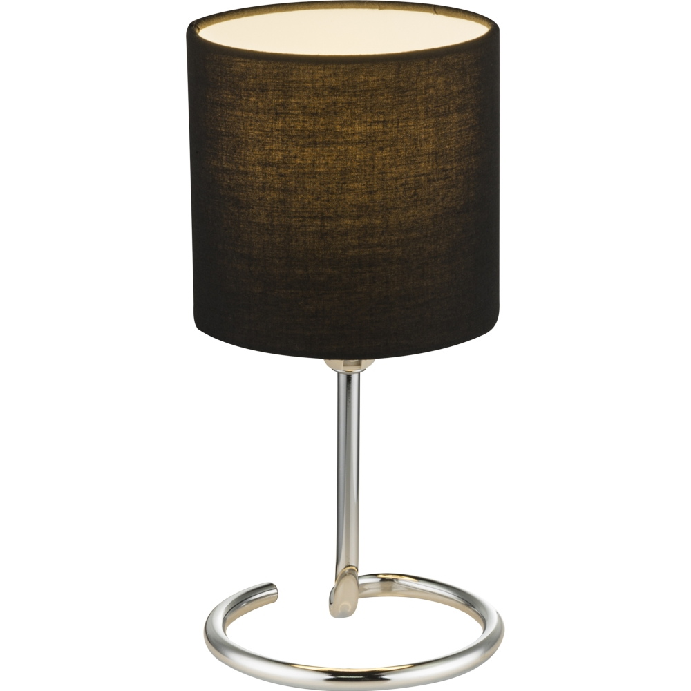 LED tafellamp grijs chroom - E14 fitting - vooraanzicht lamp