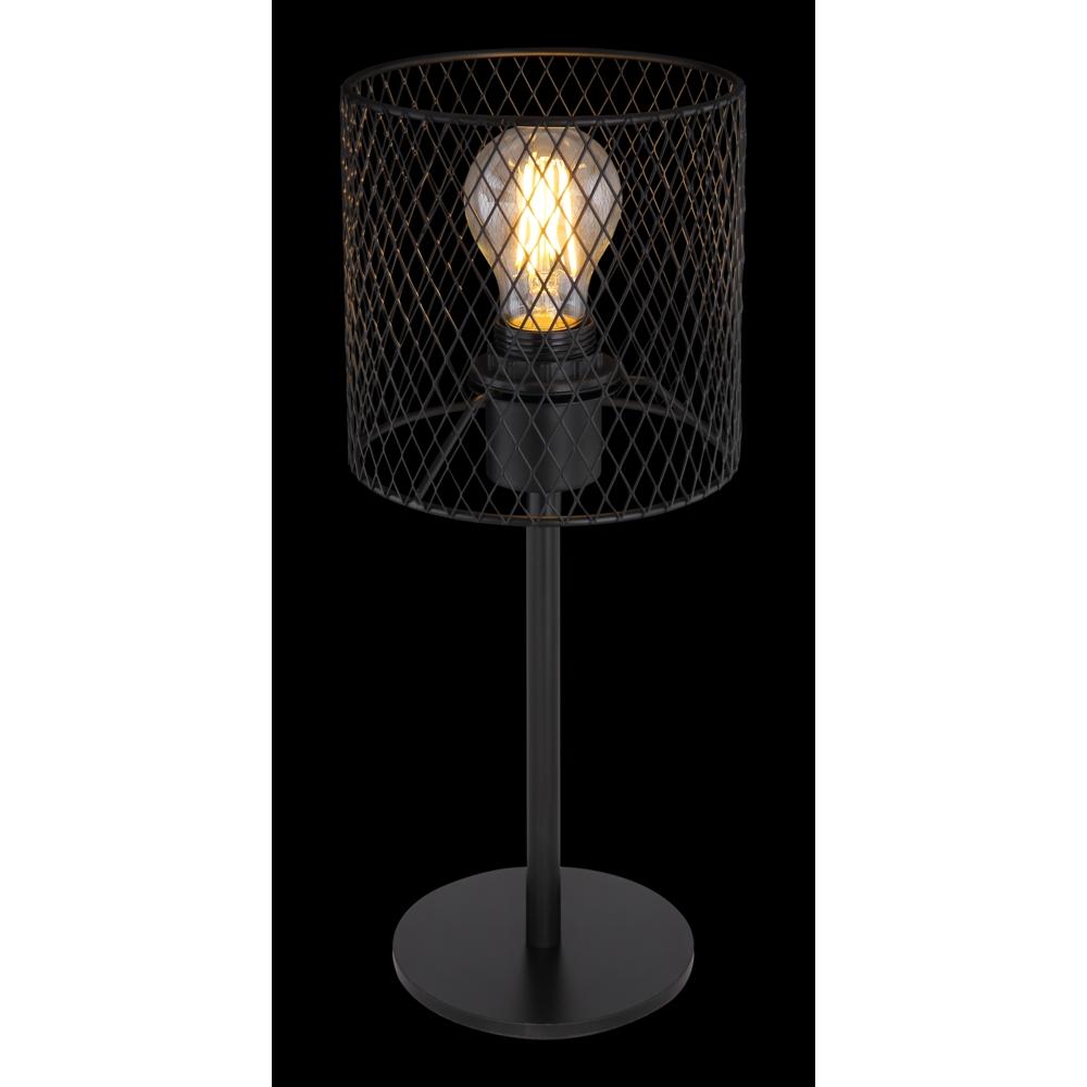Tafellamp E27 fitting zwart mesh metaal - donkere achtergrond