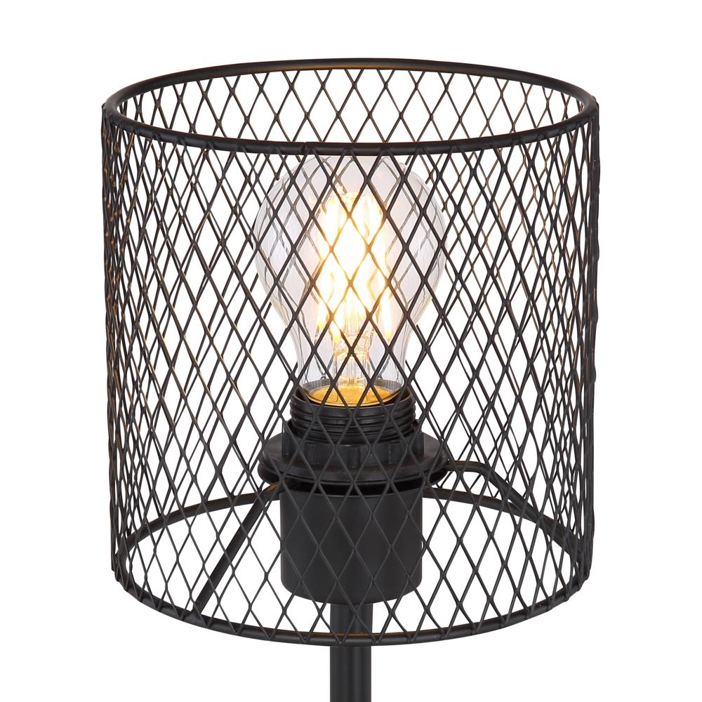 Tafellamp E27 fitting zwart mesh metaal - lampenkap