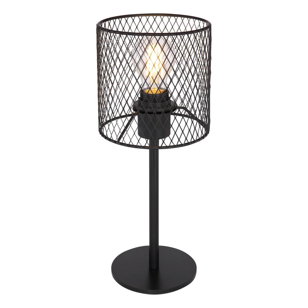 Tafellamp E27 fitting zwart mesh metaal - vooraanzicht lamp aan
