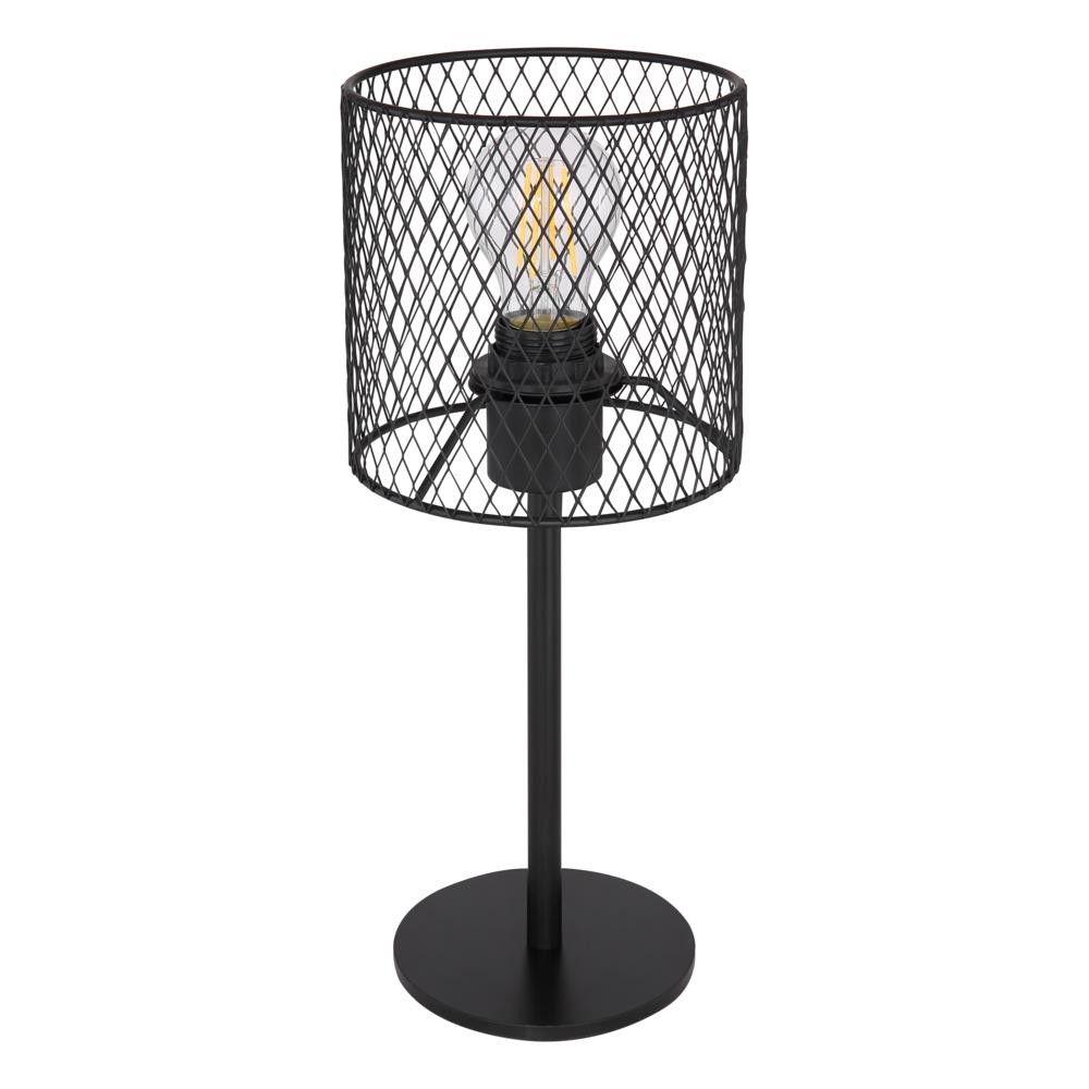 Tafellamp E27 fitting zwart mesh metaal - vooraanzicht lamp uit