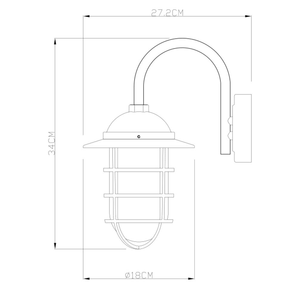 LED wandlamp E27 fitting zwart metaal glas - afmetingen