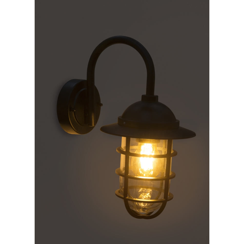 LED wandlamp E27 fitting zwart metaal glas - donkere sfeerfoto lamp aan