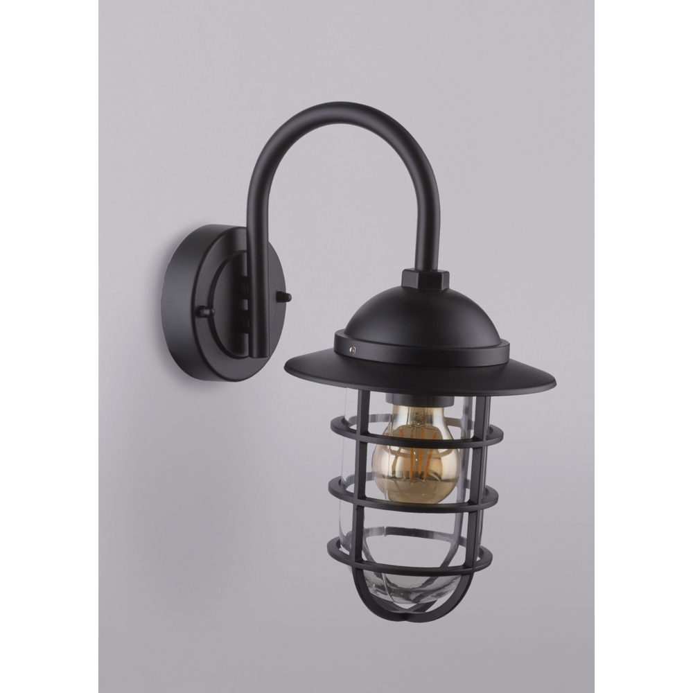 LED wandlamp E27 fitting zwart metaal glas - sfeerfoto lamp aan