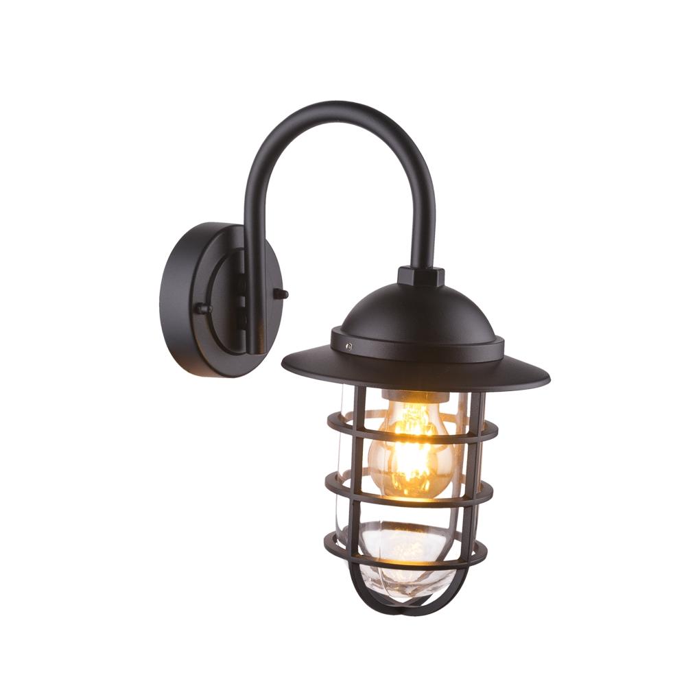 LED wandlamp E27 fitting zwart metaal glas - zijaanzicht lamp aan