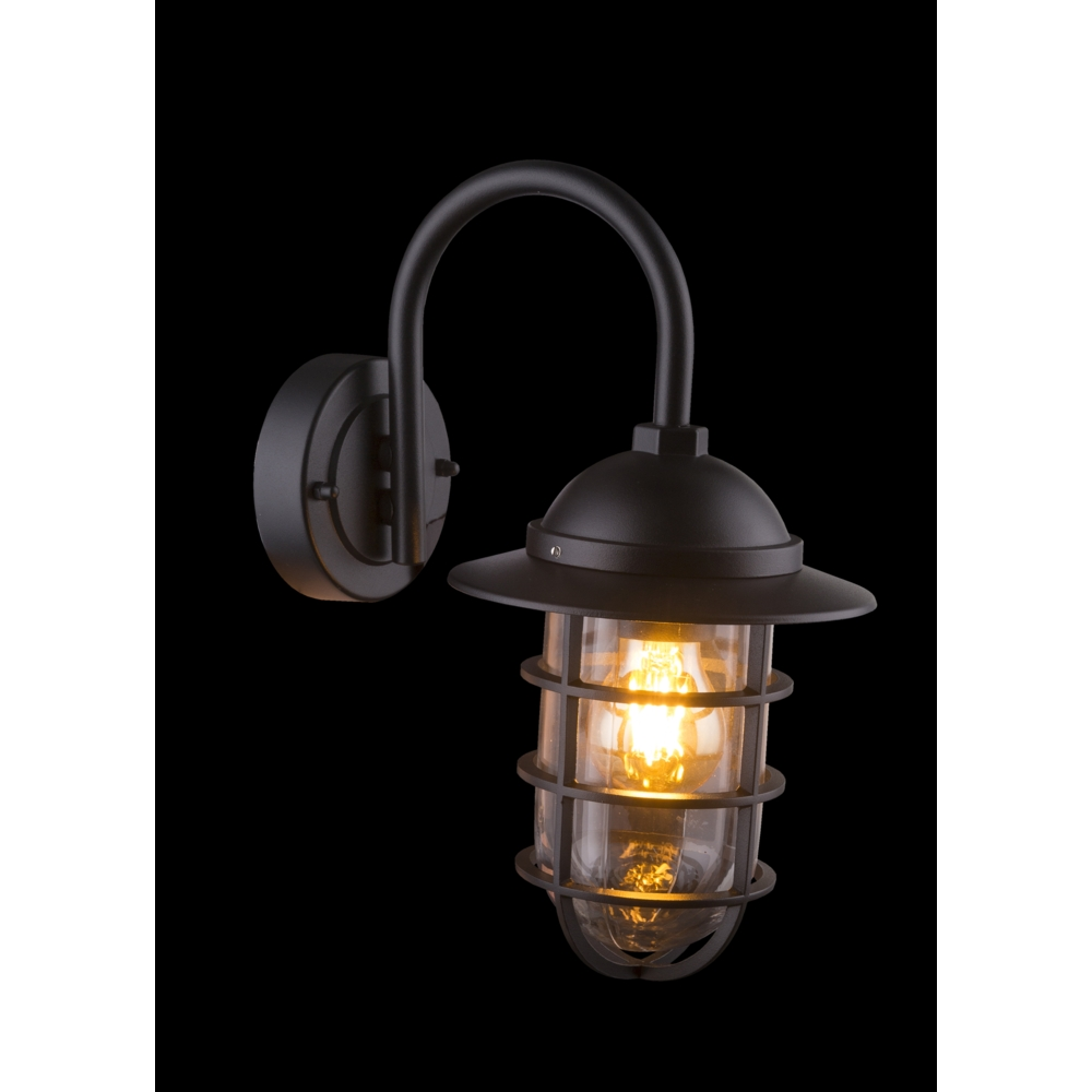 LED wandlamp E27 fitting zwart metaal glas - zwarte achtergrond
