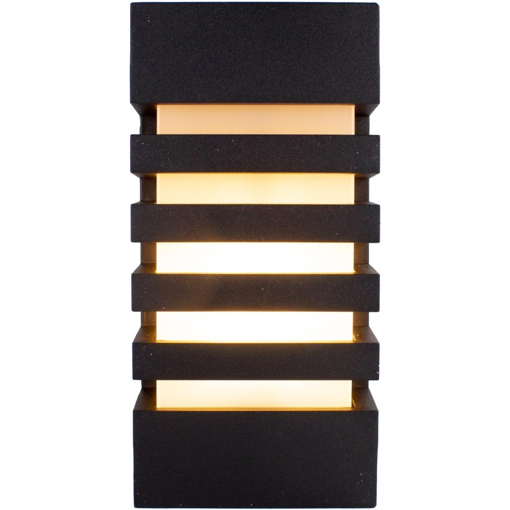 Wandlamp buiten IP54 zwart E27 fitting - vooraanzicht wandlamp aan