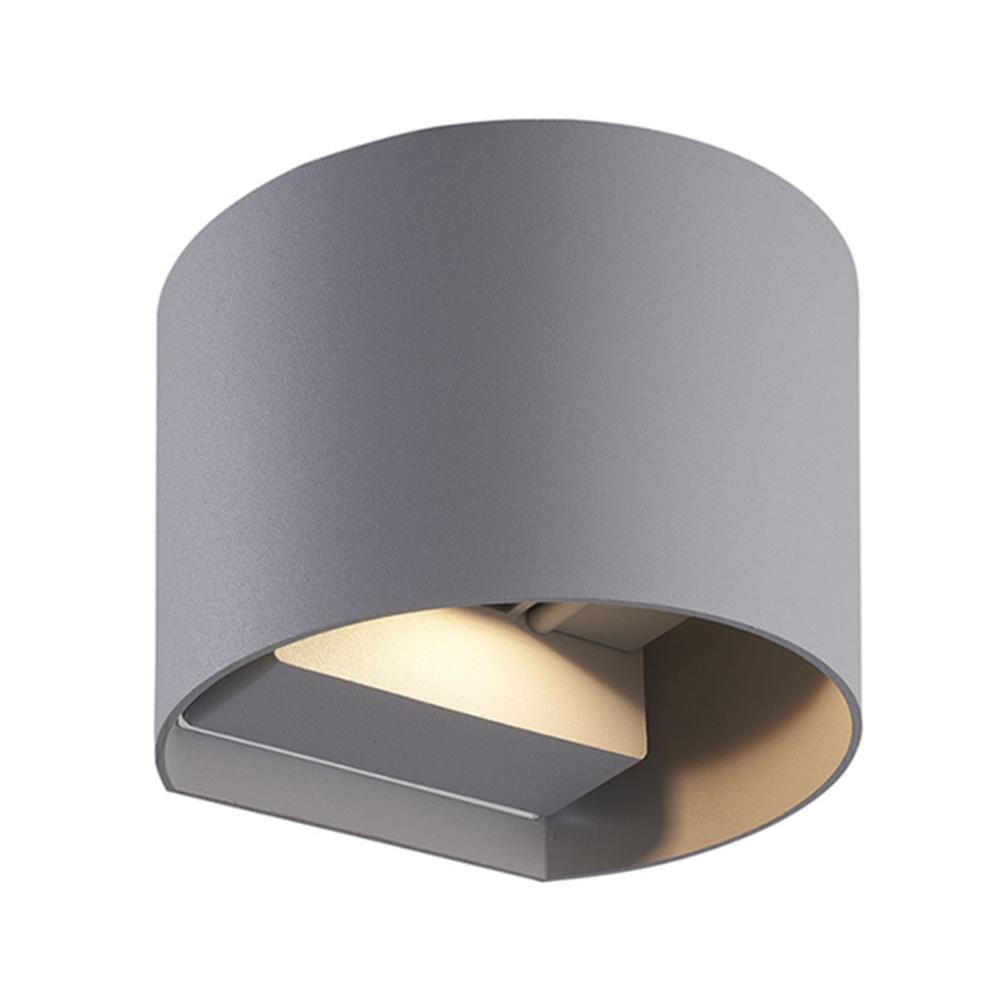 LED wandlamp grijs buiten 6 Watt 3000K - Warm wit - vooraanzicht