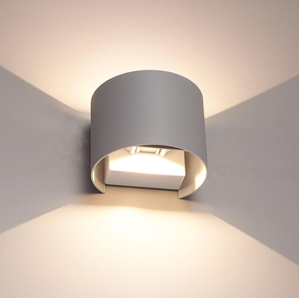 LED wandlamp grijs buiten 6 Watt 3000K - Warm wit - onderkant sfeerfoto