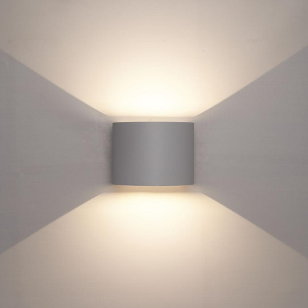 LED wandlamp grijs buiten 6 Watt 3000K - Warm wit - vooraanzicht sfeerfoto